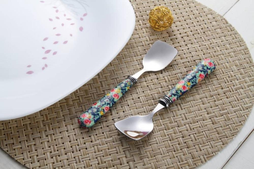 قاشق بستنی گلدار - 6عدد طرح 4