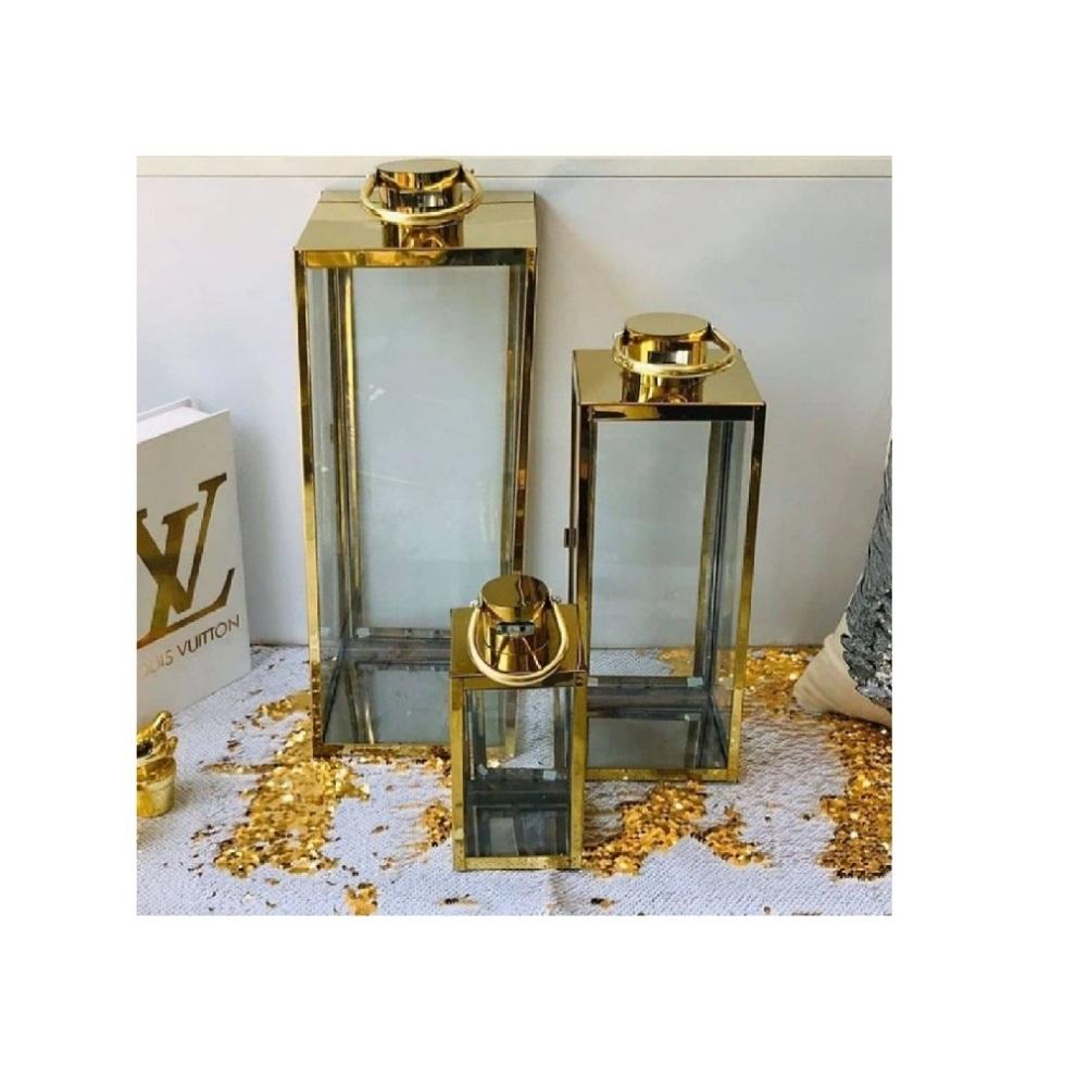 فانوس سه سایز تخت طلایی