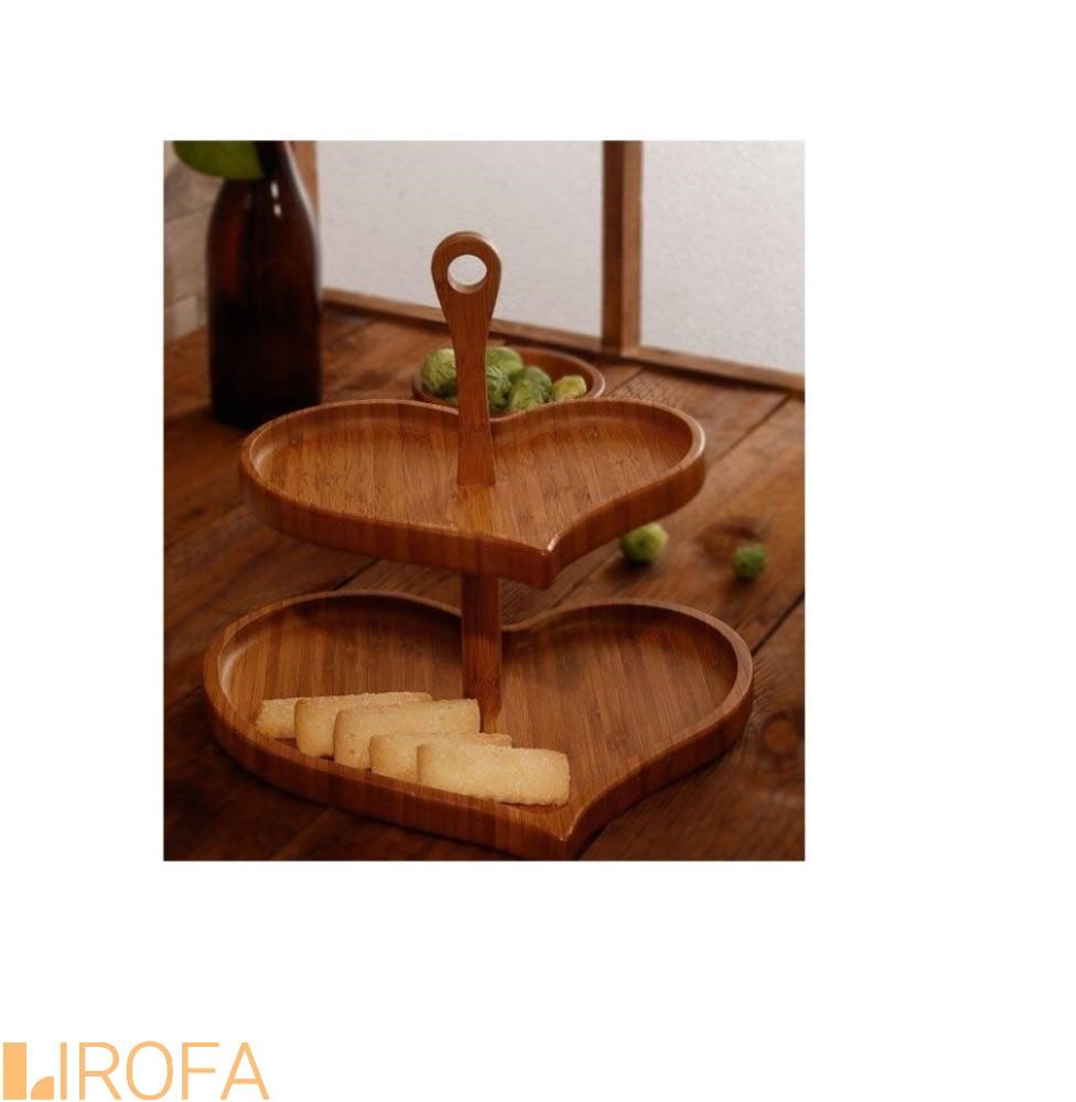 شیرینی خوری دوطبقه قلبی چوب بامبو