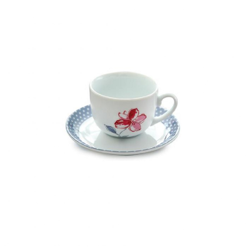 فنجان نعلبکی چایخوری ۱۲ پارچه چینی زرین سری ایتالیا اف طرح والنسیا ارغوانی درجه عالی