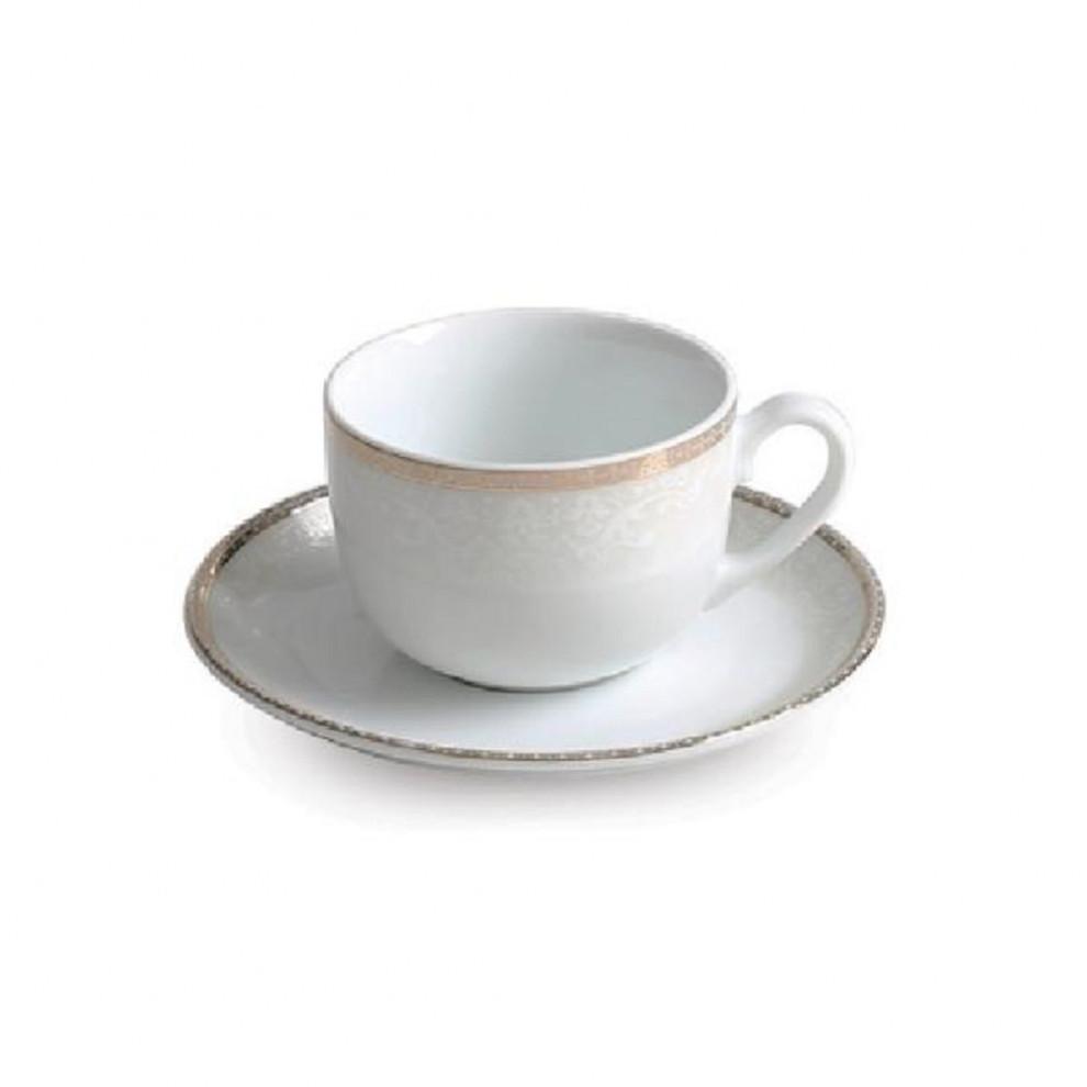 فنجان نعلبکی چایخوری ۱۲ پارچه چینی زرین سری ایتالیا اف طرح ریوا طلایی درجه یک