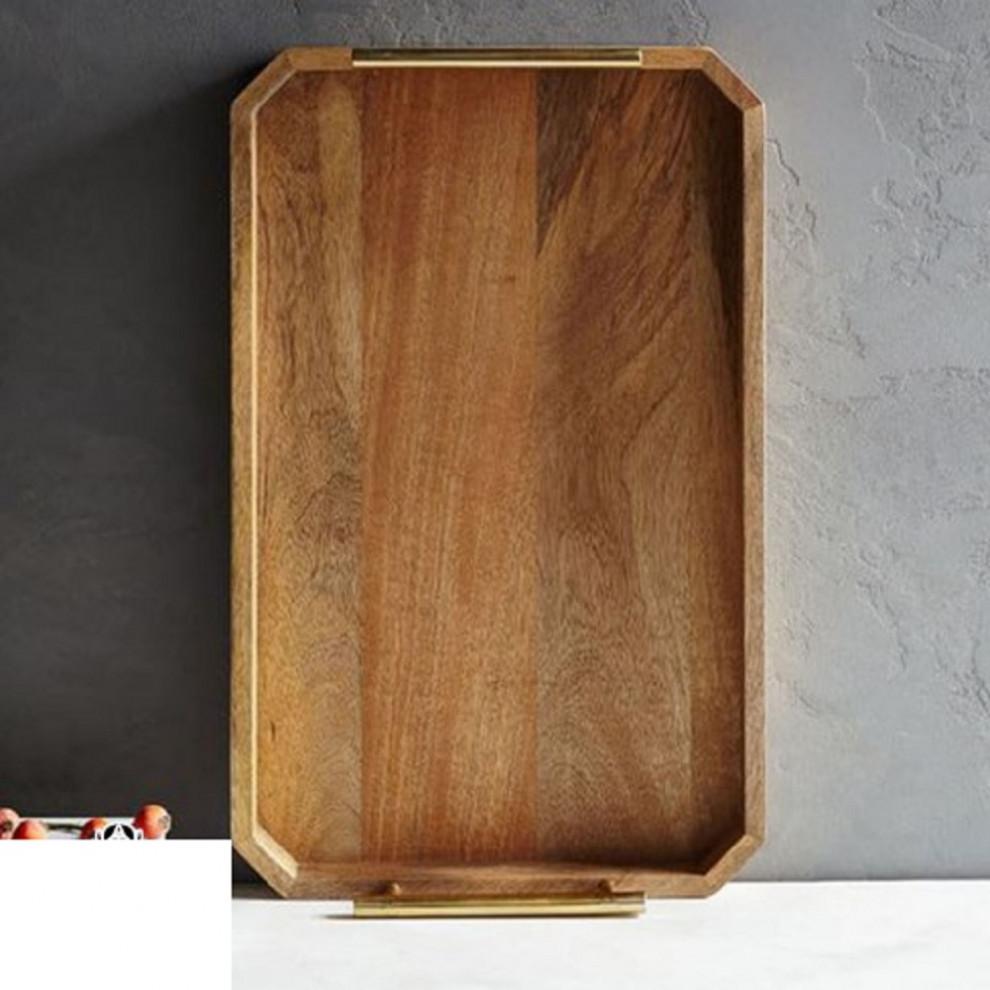 سینی مدرن چوبی دسته فلزی سایز 30*20 سانتیمتر