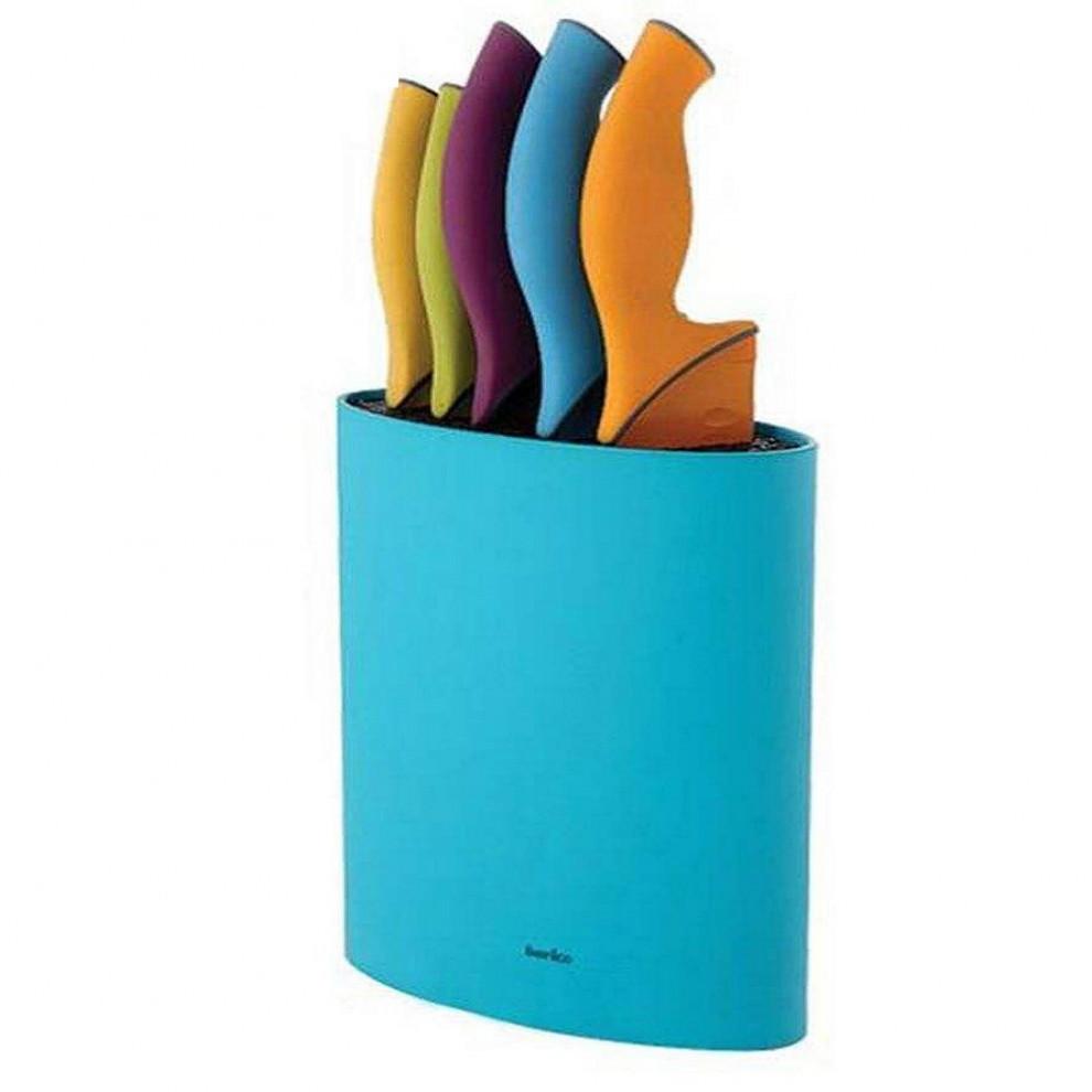 ست کارد 6 پارچه با جاکاردی باریکو سری Rainbow رنگ آبی کد BA2060