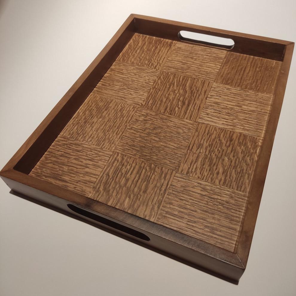 سینی مستطیل چوبی شطرنجی آلفا