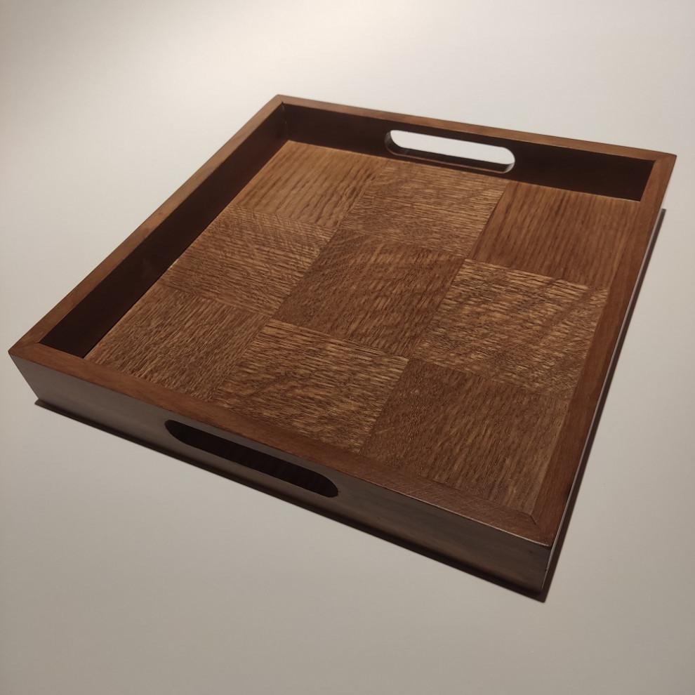 سینی مربع چوبی شطرنجی آلفا