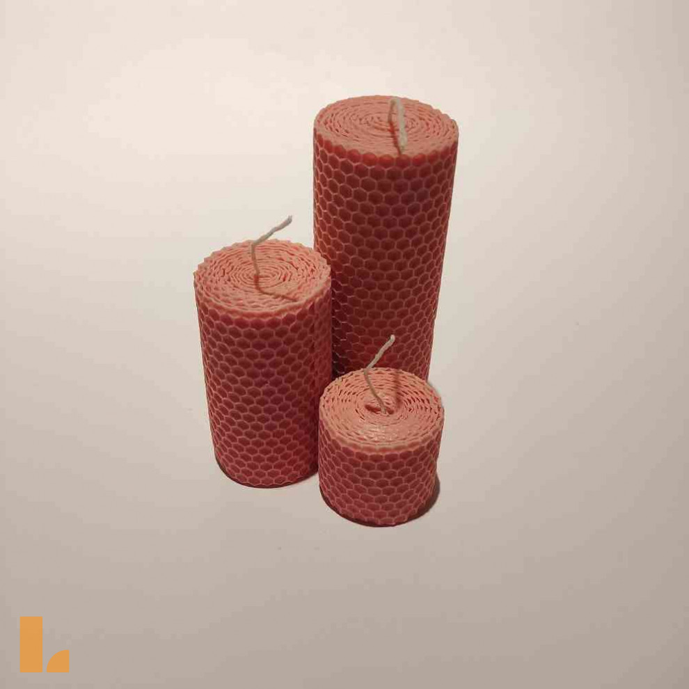 شمع موم عسل ۳ سایز قطر ۴.۵ صورتی