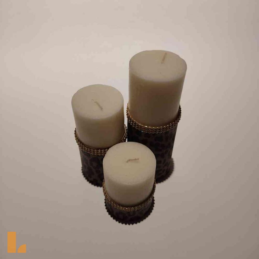شمع ۳ سایز نگین دار